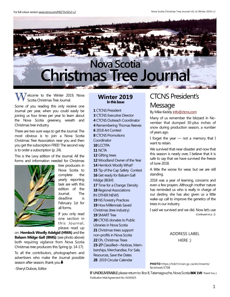 Nova Scotia Christmas Tree Journal v32 n2 Winter 2019 v2